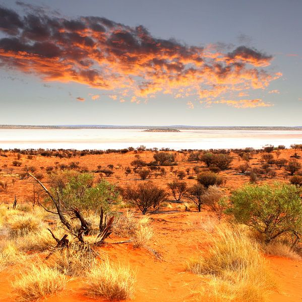 Zoutmeer in vuurland, Australië van Inge Hogenbijl