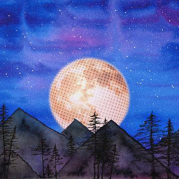 Maan over de bergen van Bianca Wisseloo