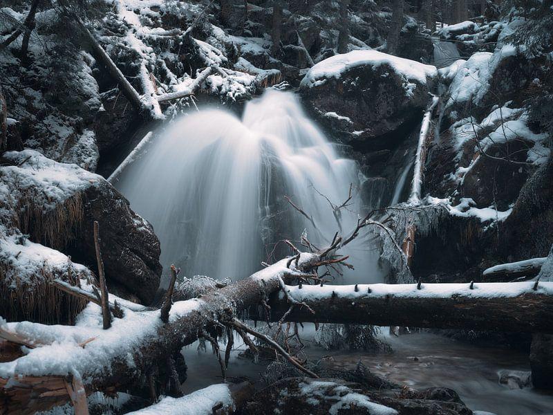 Winter im Rieslochwasserfall im Arberland 2 von Max Schiefele