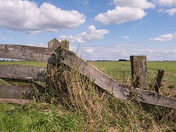 Zaun bei Wiese im niederländischen Polder von Robin Jongerden