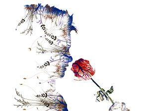 Bloem. Ruiken aan een roos. Modern en abstract. Witte achtergrond.