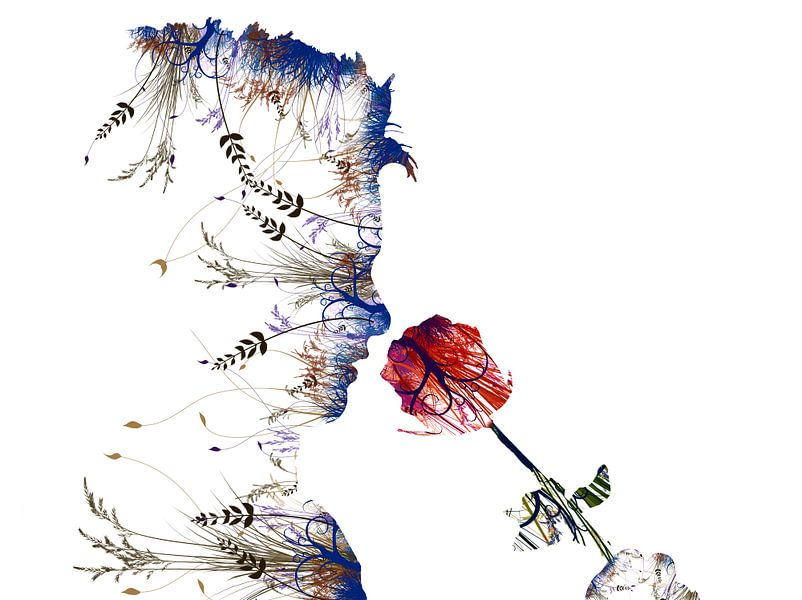 Bloem. Ruiken aan een roos. Modern en abstract. Witte achtergrond. van Erik Bertels