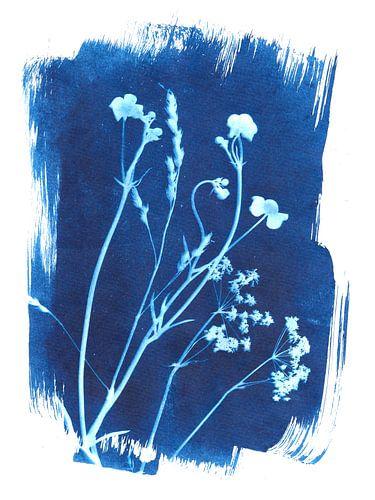 Wilde bloemen in blauw van Karin van der Vegt