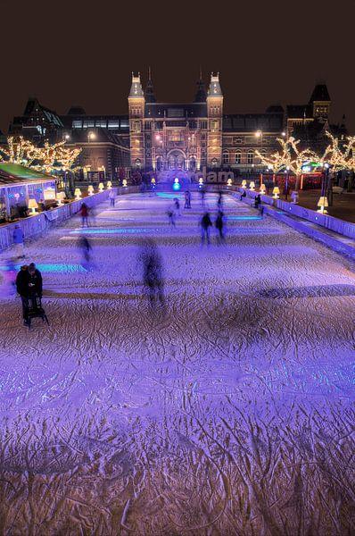 Rijksmuseum Amsterdam met schaatsers HDR