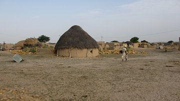 Dorp in de Thar Desert - India  van