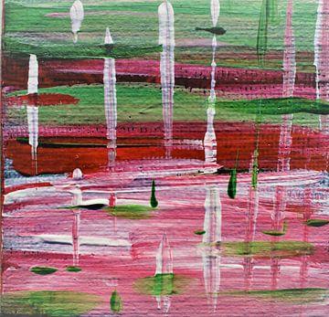 Acryl Pouring groen rood van Angelique van 't Riet