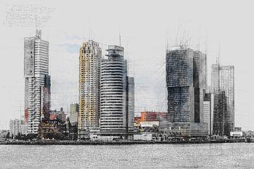 Architektonische Skizze u.a. von De Rotterdam in Rotterdam von Art by Jeronimo