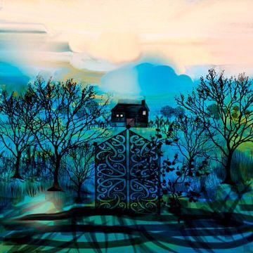 Landschap blauw met huis van Raina Versluis