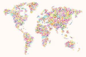 Weltkarte bunt Radfahren von Add some color!