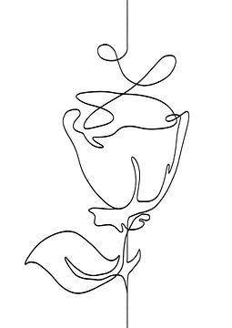 Schwarz-Weiß-Illustration einer Rose - modernes Kunstwerk von Emiel de Lange