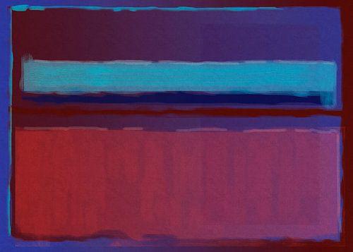 Abstract schilderij van blauw naar rood