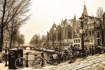 Neue Kirche Amsterdam Winter Sepia von Hendrik-Jan Kornelis