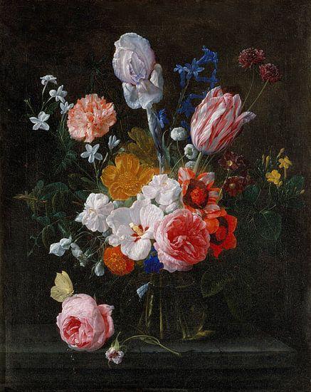 Nicolaes van Veerendael, Een boeket bloemen in een kristallen vaas van Meesterlijcke Meesters