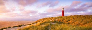 Zonsondergang vuurtoren Texel Panorama van Vincent Fennis
