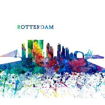 Rotterdam Holland Skyline Silhouette Impressionistischer Splash von Markus Bleichner