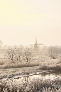 Uitzicht op een oude windmolen in de stad Kampen van Sjoerd van der Wal