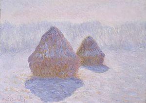 Hooibergen (Effect van Sneeuw en Sun), Claude Monet van Meesterlijcke Meesters