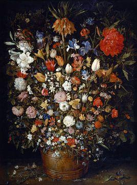 Blumen in einem Holzgefäß, Jan Brueghel der Ältere von Meesterlijcke Meesters