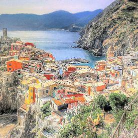 Vernazza - Cinque Terre - Italië - Schilderij van Schildersatelier van der Ven