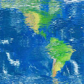 Carte de réflexion de l'eau de l'Amérique du Nord et du Sud  sur Frans Blok