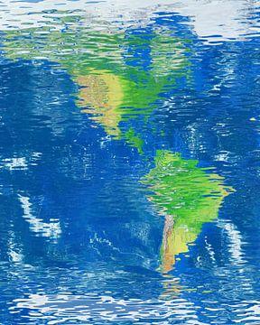 Wasserspiegelkarte Nord- und Südamerika von Frans Blok