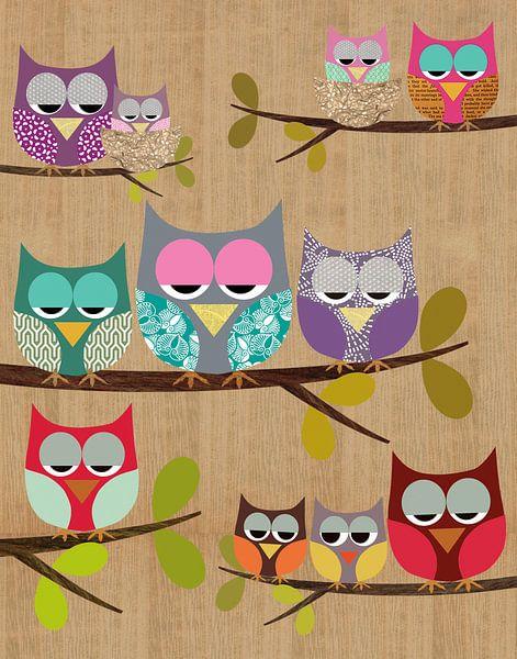 Cute Owls Collage van Green Nest