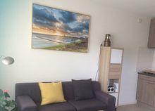 Klantfoto: Zonsondergang vanaf de Dellewal bij West Terschelling van Evert Jan Luchies, op canvas