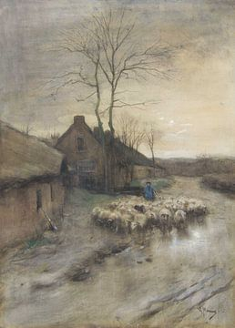 Herder met schapen in 't Gooi, Anton Mauve sur