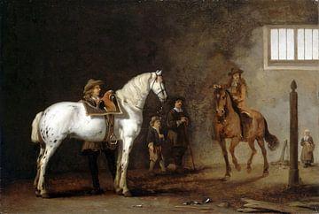 Cheval blanc dans une école d'équitation, Abraham van Calraet
