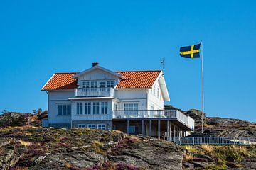 Huis en vlag op het eiland Dyrön in Zweden van Rico Ködder