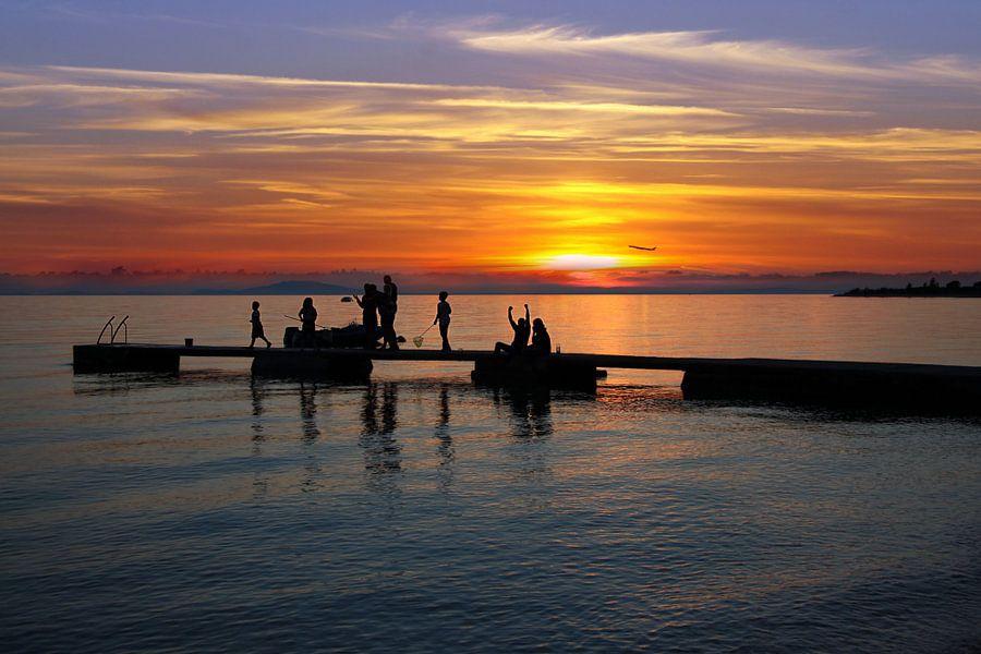 Sonnenuntergang Insel Pag Kroatien  van Renate Knapp