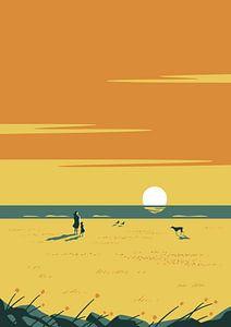 De zonsondergang groen van Rene Hamann