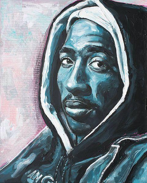 Tupac Shakur schilderij van Jos Hoppenbrouwers