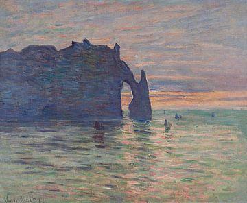 Die Klippe, Étretat, Sonnenuntergang von Claude Monet
