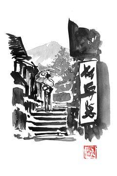 geisha op de trap