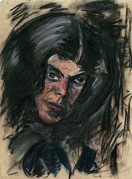 Frau mit schwarzen Haaren, Arno Nadel von Atelier Liesjes