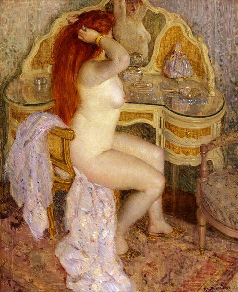 Nude Seated at Her Dressing Table, Frederick Carl Frieseke von Meesterlijcke Meesters