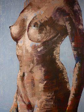Schilderij, vrouw, body, Poise. van