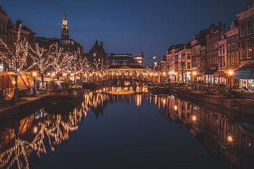 De Nieuwe Rijn in Leiden tijdens het blauwe uur van Tes Kuilboer