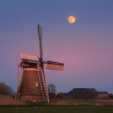 Coucher de soleil et pleine lune à Hoeksmeer, Garrelsweer, Groningen, Pays-Bas sur Henk Meijer Photography
