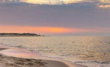 Gekleurde lucht strand Vrouwenpolder van Percy's fotografie