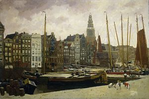 Amsterdam schilderij Het Damrak in Amsterdam