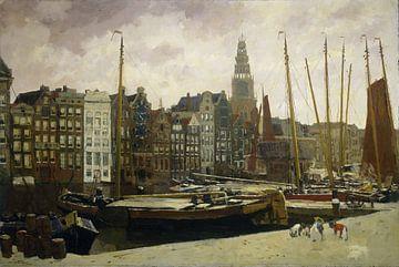 Amsterdam schilderij Het Damrak in Amsterdam van Schilderijen Nu