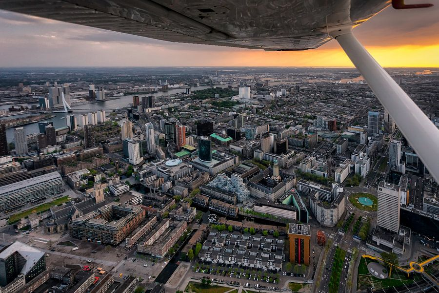 Rotterdam vanuit het vliegtuig