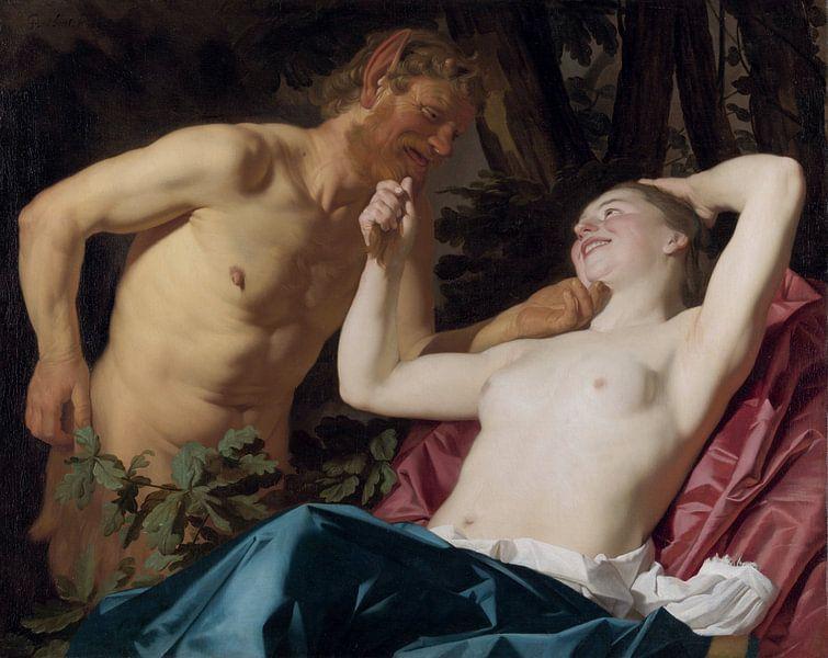 Nymphe und Satyr - Gerard van Honthorst, 1623 von Atelier Liesjes