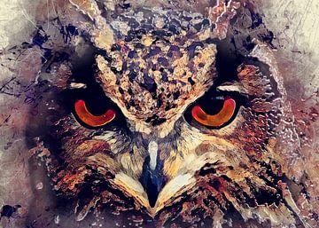 Eule Vogel Aquarell Kunst #Eule von JBJart Justyna Jaszke