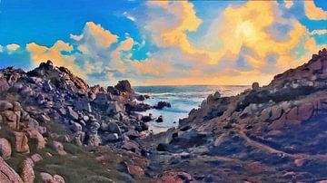 Sardinien - Küstenlandschaft mit bewölktem Sonnenuntergang - Capo Testa - Italien - Gemälde von Schildersatelier van der Ven