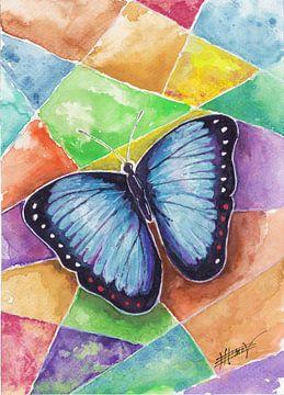blauwe Vlinder van Bojan Eftimov