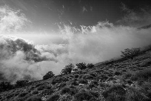 Wolken beklimmen de bergen