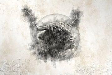 Schottischer Highlander (Zeichnung) von Art by Jeronimo